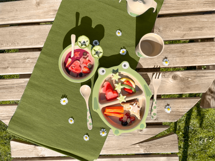 Nuby's innovative rice husk eco tableware is planet friendly and hardwearing.