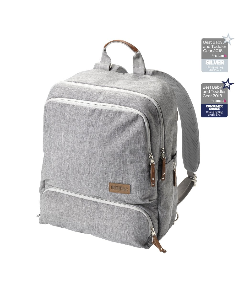 Grey Backpack Baby Changing Bag Out